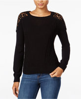 Maison Jules Crochet Lace Sweater, Only at Macy's