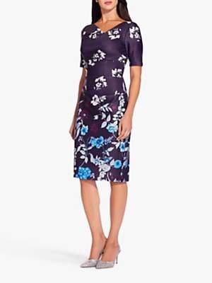 Adrianna Papell Botanical Scuba Sheath Dress, Plum