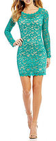 Sequin Hearts Long Sleeve Two-Tone Lace Sheath Dress