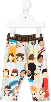 Fendi Kids Fendi Friends print trousers