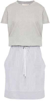 Vanessa Bruno Paneled Striped Poplin And Cotton-jersey Mini Dress