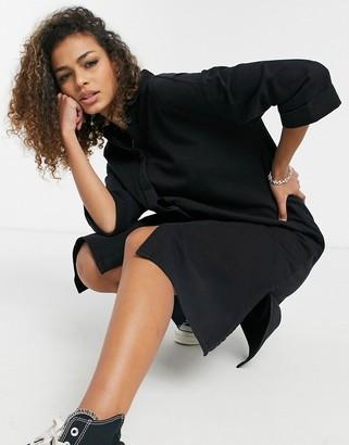 Monki Mona Lisa organic cotton midi denim shirt dress in black wash