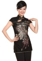 ACVIP Women's Sequined Peacock Chinese Cap Sleeve Blouse Top (XXL, )