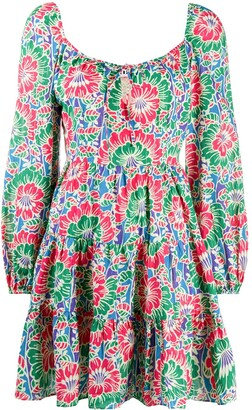 Rixo Roxy tie neck floral print dress
