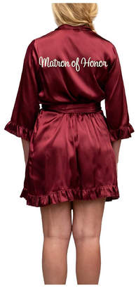 Wedding Prep Gals Plus Size Embroidered 'Matron of Honor' Ruffle Robe, Online Only