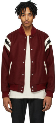Rhude Red Wool Varsity Bomber Jacket