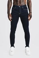 boohoo Mens Blue Skinny Fit Denim Jeans, Blue