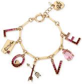 Betsey Johnson Gold-Tone Love Letter Charm Bracelet