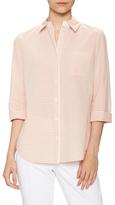 Lafayette 148 New York 3/4 Sleeve Turn Up Cuff Shirt