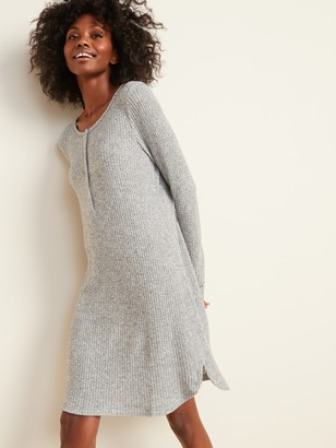 Old Navy Cozy Thermal-Knit Henley Nightgown for Women