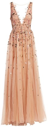 BURNETT NEW YORK Illusion V-Neck Embellished Gown