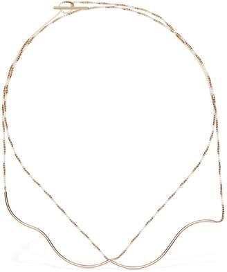 Annika Inez Double Rippled Wire & Box Chain Necklace