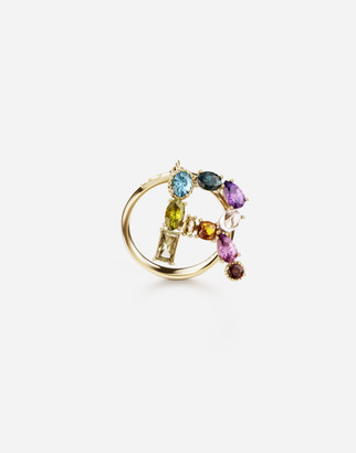 Dolce & Gabbana Rainbow Alphabet R 18 Kt Yellow Ring With Multicolor Fine Gems