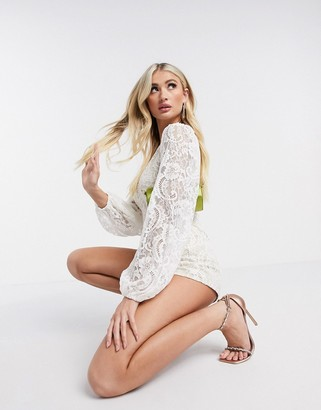 Rare London lace plunge neck playsuit in white