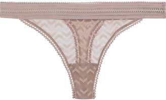 ELSE Boomerang Lace-trimmed Stretch-mesh Mid-rise Thong