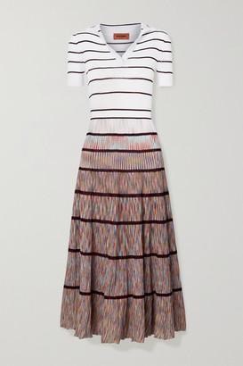 Missoni Striped Crochet-knit Silk-blend Midi Dress - White