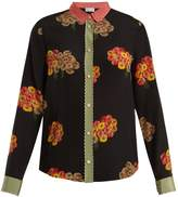 RED Valentino Flying Bouquet-print silk crepe de Chine shirt