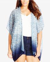 City Chic Plus Size Printed Ombré Kimono Cardigan