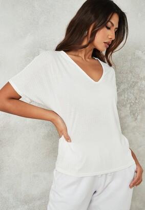 Missguided White Rib V Neck Oversized Boyfriend T Shirt