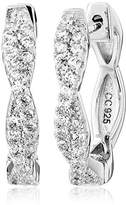 "Crislu Twist"" Sterling Platinum Cubic Zirconia Hoop Earrings"