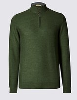 Tailored Fit Half Zip Jumper With Merino Wool