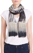 Collection 18 Feather Print Fringe Scarf