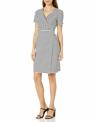 Lark & Ro Women's Short Sleeve Faux Wrap Dress