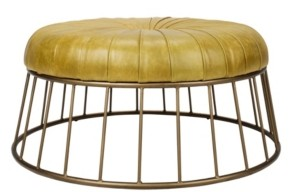 Moe's Home Collection Radcliffe Leather Ottoman Green