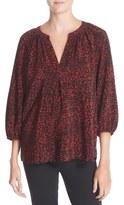 Joie Addie B Print Silk Split Neck Blouse