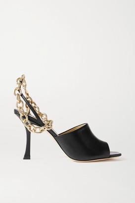 Jimmy Choo Sae 90 Chain-embellished Leather Slingback Sandals - Black