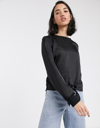 Only Mia long sleeve tie front satin blouse-Black