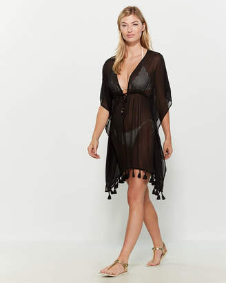 Bleu Rod Beattie Tasseled Sheer Dress Swim Cover-Up