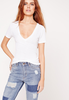 Missguided Ribbed Basic V-Neck T-Shirt White