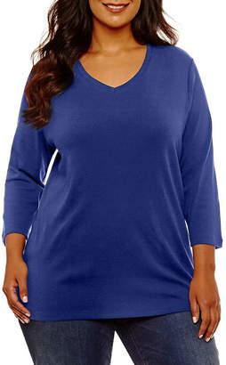 ST. JOHN'S BAY Plus-Womens V Neck 3/4 Sleeve T-Shirt