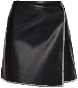 Stand Studio Aviva Wrap-effect Leather Mini Skirt