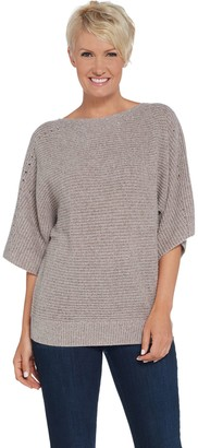 Martha Stewart Wool Cashmere Dolman Elbow Sleeve Sweater