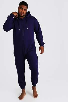 BoohoomanBoohooMAN Mens Navy Big & Tall Zip Through Hooded Onesie, Navy