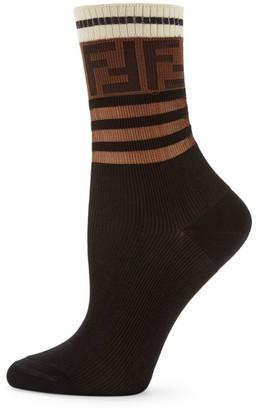 Fendi Logo Stripe Ankle Socks
