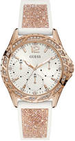 GUESS Women's White Silicone & Rose Gold-Tone Glitter Strap Watch 40mm