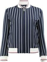 Thom Browne Classic Varsity Jacket With Broderie Anglaise Tennis Crest In Bold Blazer Stripe Wool/Cotton