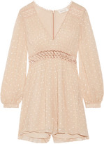 Zimmermann Bowerbird Empire Embroidered Crinkled Silk-georgette Playsuit - Beige
