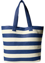 San Diego Hat Company BSB1556 Wide Stripe Tote Bag with Interior Zippered Pocket and Metal Snap Closure