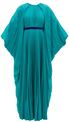 Roksanda Inara Cape-sleeve Pleated Satin Dress - Womens - Blue