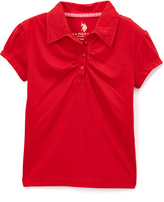 U.S. Polo Assn. Engine Red Ruched Cap-Sleeve Polo - Girls