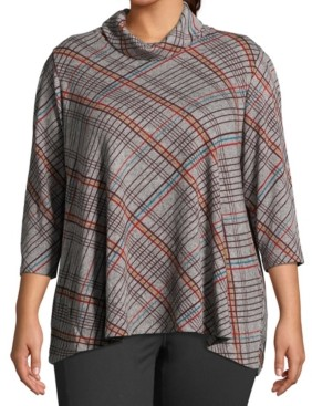John Paul Richard Plus Size Plaid Cowlneck Top
