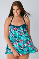 Yours Clothing Green & Blue Tropical Orchard A Line Tankini Top