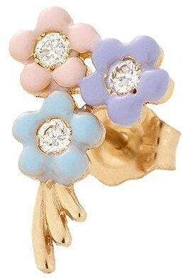Alison Lou 14kt Yellow Gold Bouquet Of Flowers Enamel And Diamond Stud