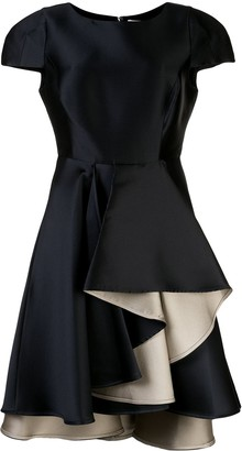 Halston Asymmetric Ruffled Dress