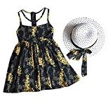 Fheaven Baby Girl Chiffon Floral Vest Dress+Sun Hat Set (4/5T, Black)