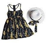 Fheaven Baby Girl Chiffon Floral Vest Dress+Sun Hat Set (5/6T, Black)